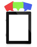 Tablet computer with blank screen and speech bubbles Stock Images