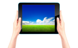 Tablet computer with blue sky and green grass Royalty Free Stock Photos