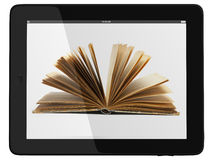 Tablet Computer and book - Digital Library Concept stock photo