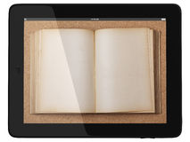 Tablet Computer and book - Digital Library Concept Stock Images