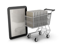 Tablet computer and book in shopping cart Stock Photo