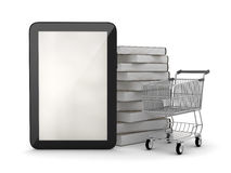 Tablet computer, books and shopping cart Royalty Free Stock Photos