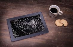 Tablet computer with broken glass Royalty Free Stock Photography