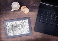 Tablet computer with broken glass Royalty Free Stock Photo