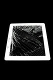 Tablet computer with broken glass screen Stock Images