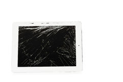 Tablet computer with broken glass screen Royalty Free Stock Image
