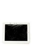Tablet computer with broken glass screen Stock Photos
