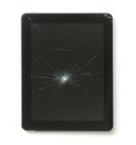 Tablet computer with broken screen. Tablet computer with broken screen isolated on white background royalty free stock photography