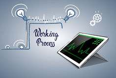 Tablet Computer Business Financial Graph Working Process. Flat Vector Illustration Royalty Free Stock Photo