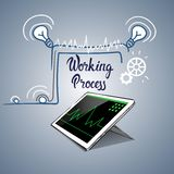 Tablet Computer Business Financial Graph Working Process. Flat Vector Illustration Stock Photos