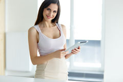 Tablet computer. Business woman with digital tablet computer royalty free stock image