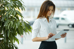 Tablet computer. Business woman using digital tablet computer Stock Images
