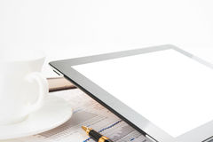 Tablet computer on a businessman workplace Stock Photos