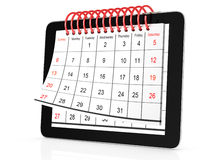 Tablet computer with calendar Stock Image