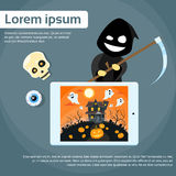 Tablet Computer Cartoon Grim Reaper Smile Hold Stock Photography