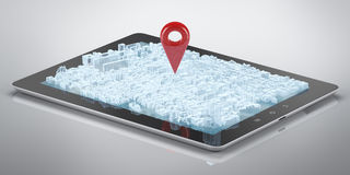 Tablet computer city hologram GPS Stock Images