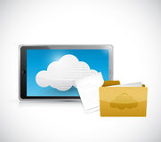 Tablet computer cloud computing and files Royalty Free Stock Photos