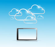 Tablet and computer cloud connection Royalty Free Stock Image