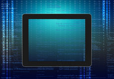 Tablet computer code on an abstract background. Royalty Free Stock Photo