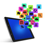Tablet computer With Colorful application icon concept,isolated Stock Image
