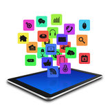Tablet computer With Colorful application icon ,tablet  illustra Stock Photos