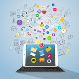 Tablet Computer Concept Doodle Hand Draw Icon Royalty Free Stock Photo