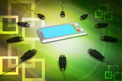 Tablet computer with connecting cable Royalty Free Stock Photography