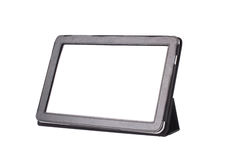 Tablet computer in cover isolated on white Stock Photography