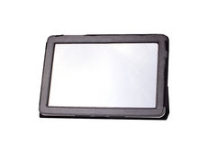 Tablet computer in cover isolated on white Stock Photo