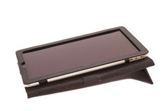 Tablet computer in cover isolated Royalty Free Stock Photography
