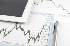 Tablet-Computer, das Dow Jones-Diagramm und Stift auf einem weißen Hintergrund, Geschäftskonzept lizenzfreies stockbild