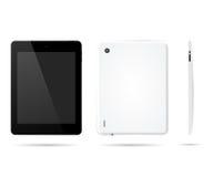 Tablet-Computer in der Front, Rückseite, Seite mit realistischer Art des Schattens Stockfotos