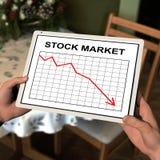 Tablet computer displaying stock chart. Digital rendering of a tablet computer displaying the latet stock market graph Stock Photo