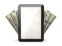 Tablet computer and dollar bills Royalty Free Stock Images
