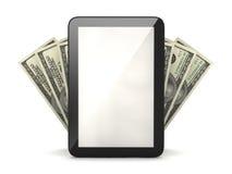 Tablet computer and dollar bills stock illustration