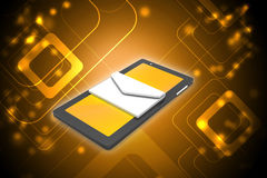 Tablet computer with e mail in laptop Royalty Free Stock Photography