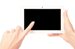 Tablet-Computer in einer Hand Stockfotos