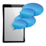 Tablet computer electronic with chat messages Stock Photo