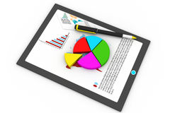 Tablet computer and financial charts. 3d render of Tablet computer and financial charts Royalty Free Stock Images