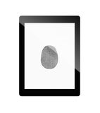 Tablet computer with fingerprint Royalty Free Stock Image
