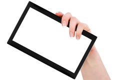 Tablet computer in a giving hand Stock Photography