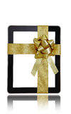 Tablet computer with golden ribbon Stock Image
