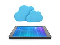 Tablet computer and group of clouds Royalty Free Stock Image