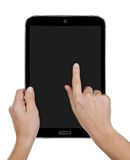 Tablet computer with hands Stock Photo