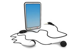 Tablet computer with  headphones. 3d render of tablet computer with  headphones Stock Images