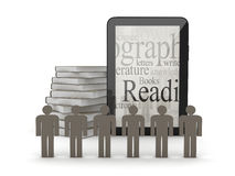 Tablet computer, human figures and books Stock Photos