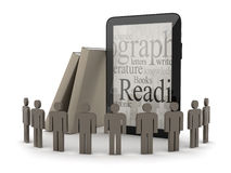 Tablet computer, human figures and books. On white background Royalty Free Stock Image