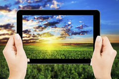 Tablet computer. Isolated in a hand Royalty Free Stock Images