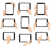 Tablet Computer Isolated In A Hand On The White Backgrounds. Stock Photos