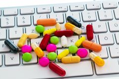 Tablet and computer keyboard. Royalty Free Stock Photo